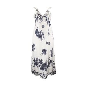Cream and Gray Floral Maxi Dress Ruffled Sleeves